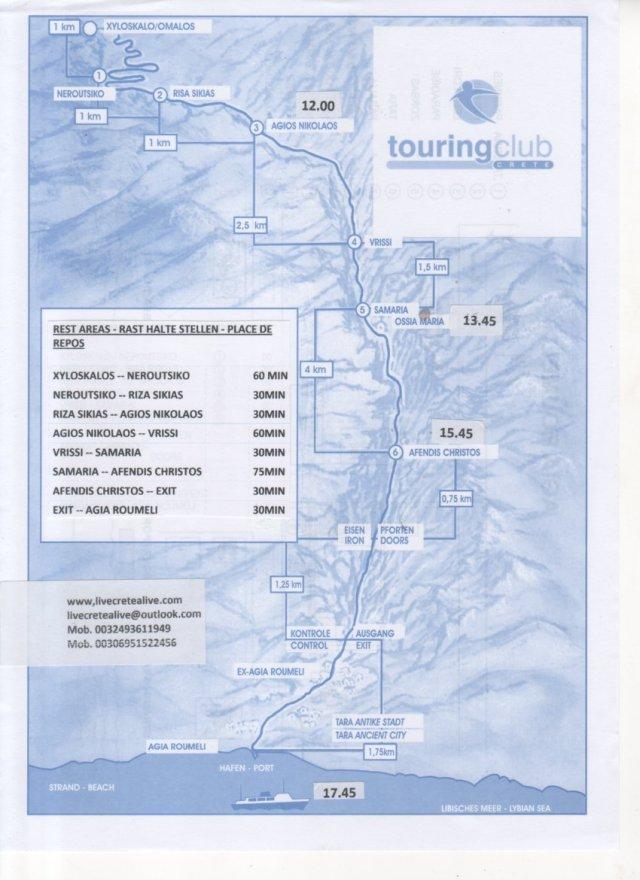 Carte Crete Gorges De Samaria.A Map Of The Samaria Gorge Eine Karte Von Die Samaria